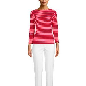 Anne Klein $59 Cotton Jersey Striped Boat Neck Top